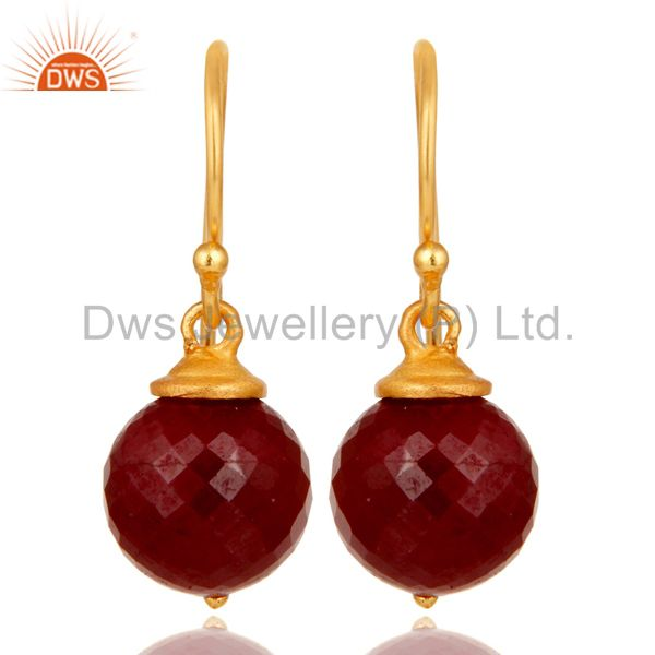 18K Gold Plated Sterling Silver Natural Ruby Dangle Hook Earrings For Womens