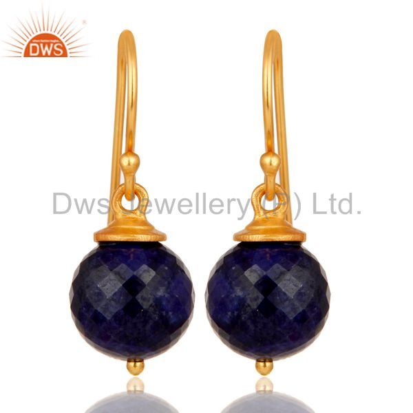18K Gold Plated Sterling Silver Natural Sapphire Dangle Hook Earrings For Womens