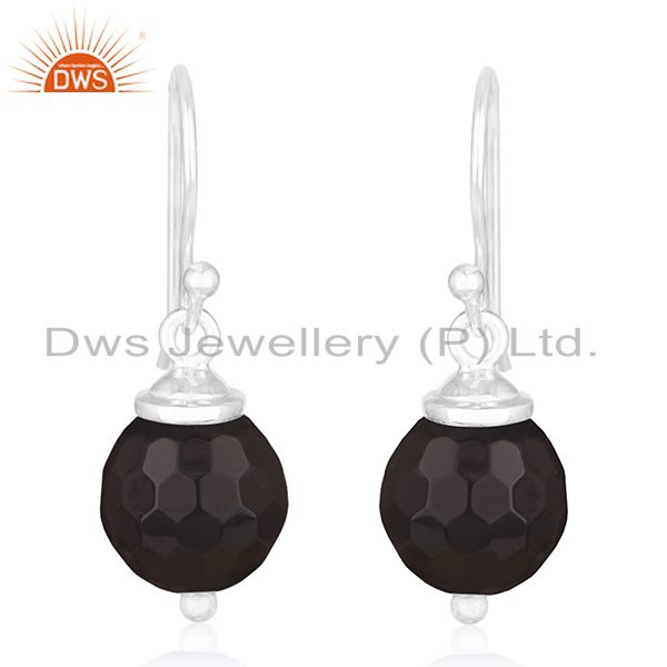 Black Onyx Gemstone 925 Sterling Silver Drop Earrings Manufacturer of Jewellery