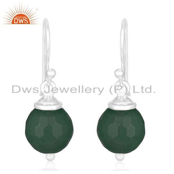 Green Onyx Gemstone Handmade 925 Silver Drop Earrings Wholesale Jewelry Supplier