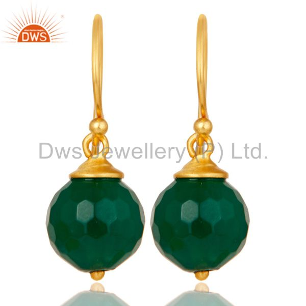 18K Gold Plated Sterling Silver Natural Green Onyx Dangle Hook Earring Jewellery