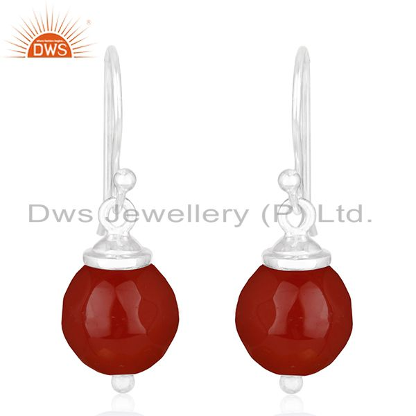 92.5 Handmade Sterling Silver Red Onyx Gemstone Earrings Manufacturer of Jewelry