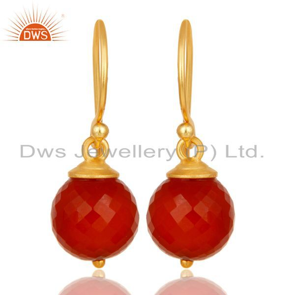 18K Yellow Gold Plated 925 Sterling Silver Faceted Red Onyx Drops Earrings