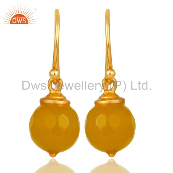 18K Gold Plated Sterling Silver Dyed Chalcedony Dangle Hook Earrings Jewellery