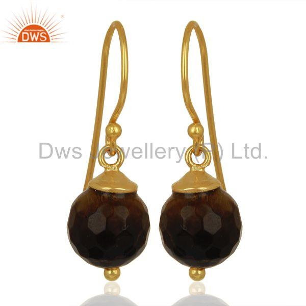 Tiger Eye Dangle 14K Gold Plated 925 Sterling Silver Earrings Jewelry