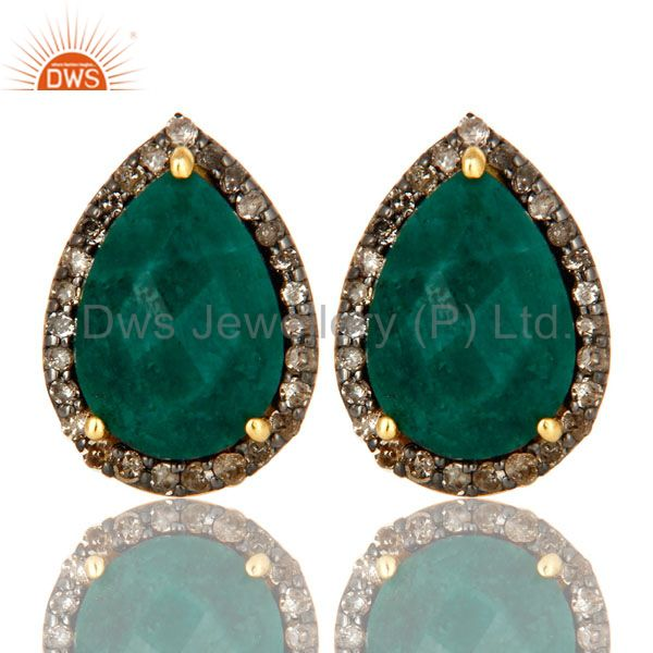 18K Yellow Gold Pave Diamond And Emerald Sterling Silver Drop Stud Earrings