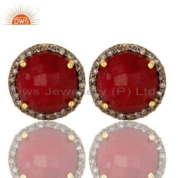 18K Yellow Gold Pave Diamond And Ruby Sterling Silver Round Stud Earrings