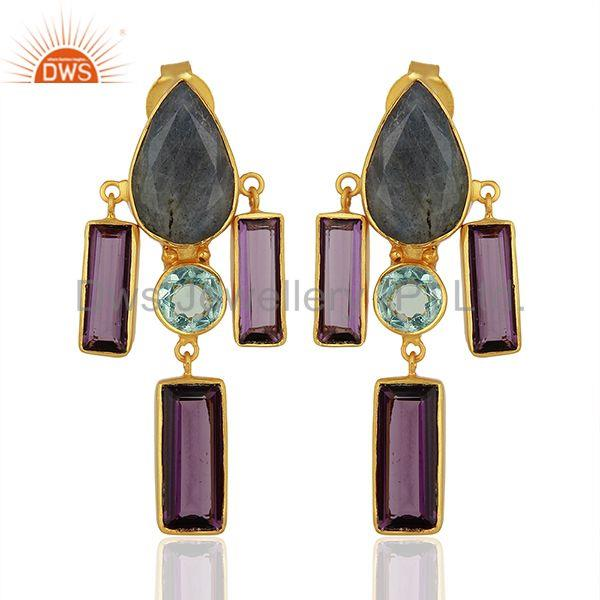 Hydro Amethyst Gemstone Brass Fashion Earrings Jewelry Manufacturer