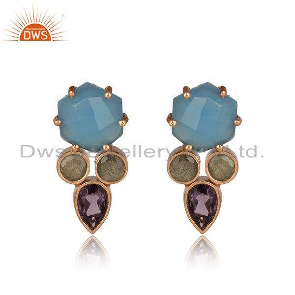 Fashion gold studs with blue chalcedony hydro amethyst labradorite