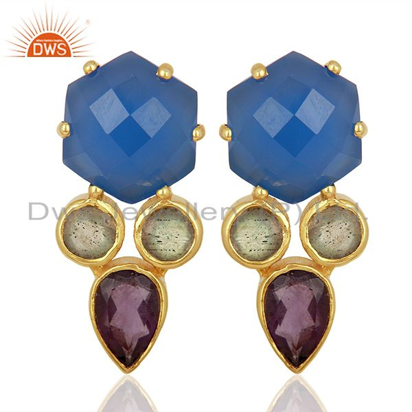 Blue Chalcedony and Labradorite Gemstone Fashion Earrings Supplier