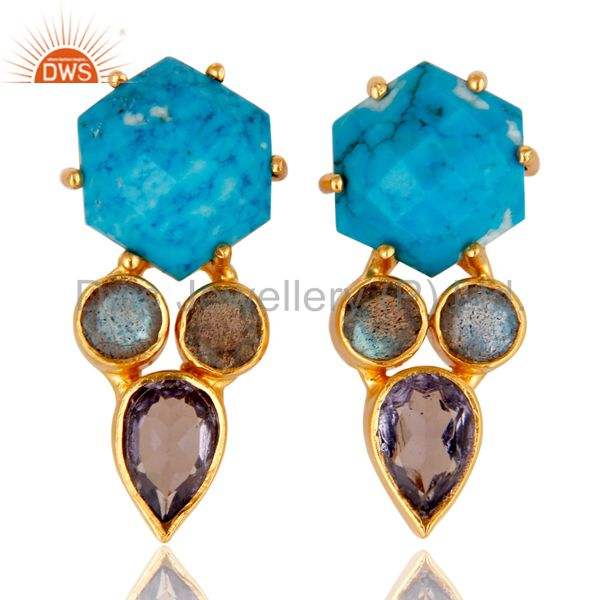 Labradorite and Turquoise Cultured 18K Gold Plated Drop Stud Earring