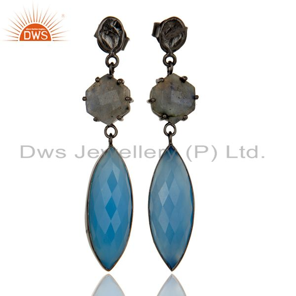 Black Oxidized Brass Dangle Earrings With Natural Labradorite & Blue Chlacedony