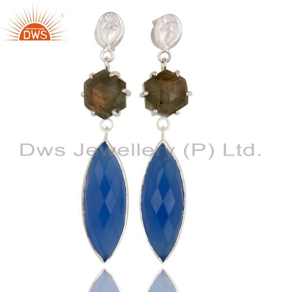 Silver Plated Dyed Blue Chalcedony & Checkered Labradorite Earrings