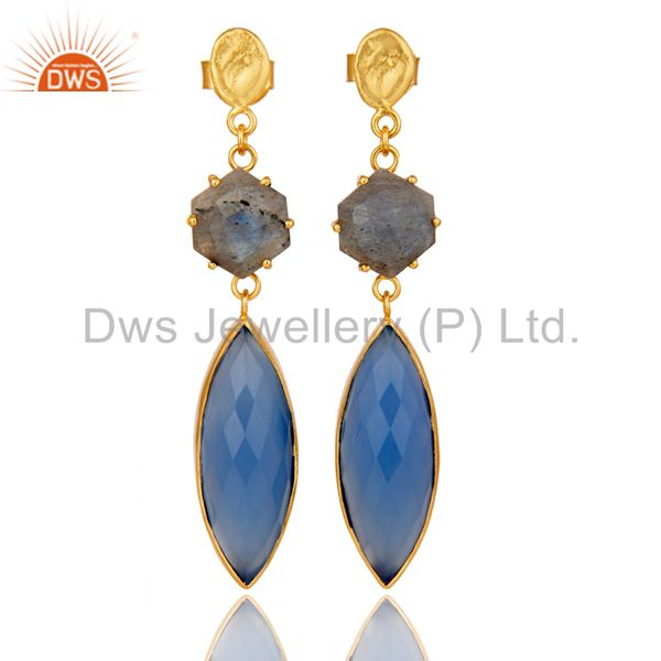 Natural Labradorite and Blue Chlacedony 18K Gold Plated Dangler Earring