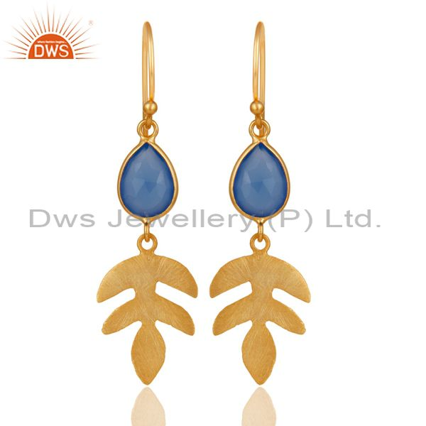 18K Yellow Gold Plated 925 Sterling Silver Dyed Blue Chalcedony Drops Earrings