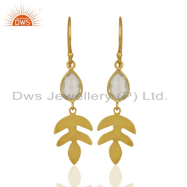 Crystal Quartz Drop 14K Yellow Gold Plated 925 Sterling Silver Earrings Jewelry