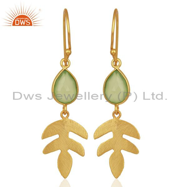 Prehnite Chalcedony 14K Yellow Gold Plated 925 Sterling Silver Earrings Jewelry