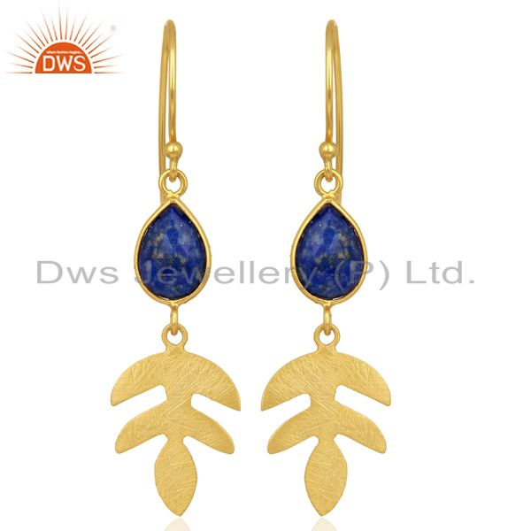Lapis Lazuli Dangle 14K Yellow Gold Plated 925 Sterling Silver Earrings Jewelry