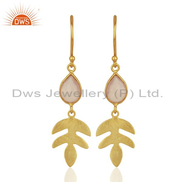 Rose Chalcedony Dangle 14K Yellow Gold Plated Sterling Silver Earrings Jewelry