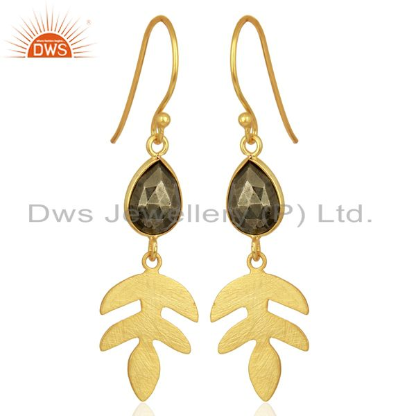 Pyrite Dangle 14K Yellow Gold Plated 925 Sterling Silver Earrings Jewelry