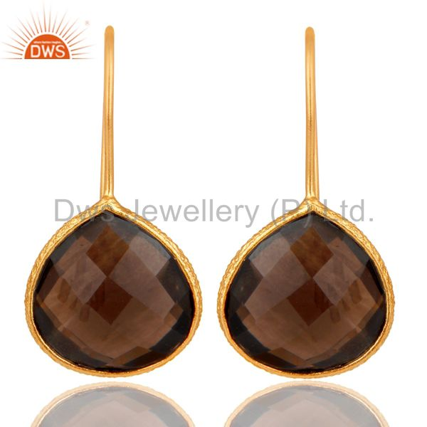 Sterling Silver Hammered Bezel Smokey Quartz 18K Gold Plated Earring