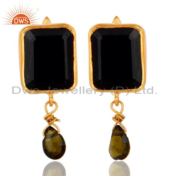Multi Toumaline and Black Onyx Sterling Silver 18K Gold Plated Drop Earring