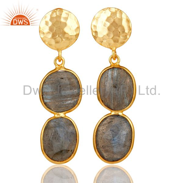 18K Gold Plated Sterling Silver Labradorite and Hammered Disc Dangler Earring