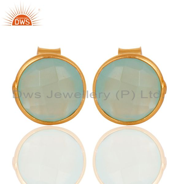 18K Yellow Gold Plated Sterling Silver Dyed Aqua Chalcedony Womens Stud Earrings