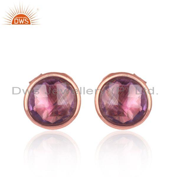 Amethyst Set Rose Gold On Silver Classic Statement Stud Earring