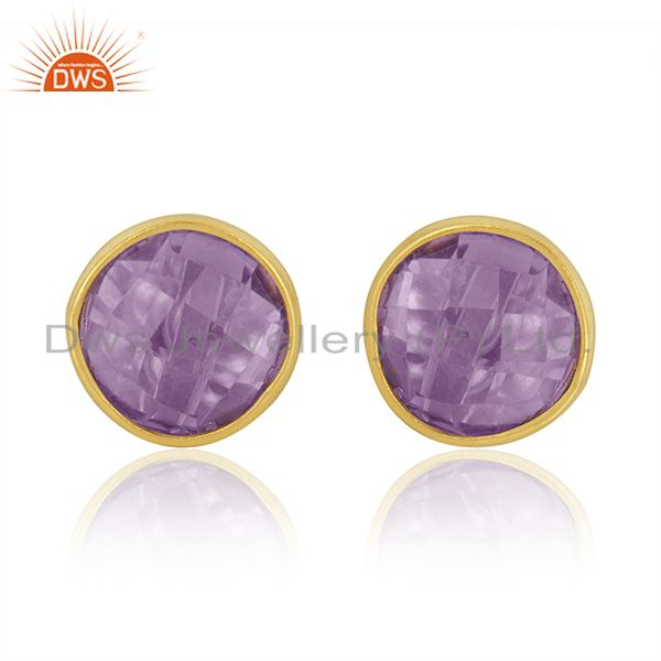 Natural Amethyst Studs 8MM Gold Plated 92.5 Sterling Silver Post Jewelry