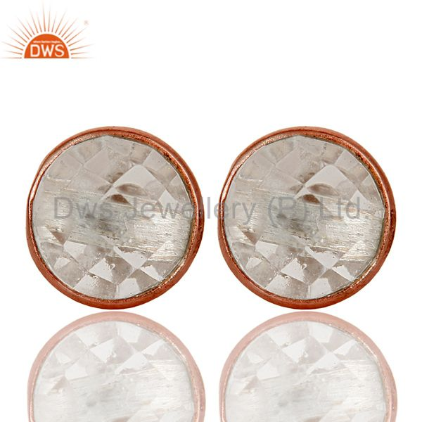 18k Rose Gold Plated 925 Sterling Silver Round Cut Crystal Quartz Stud Earrings