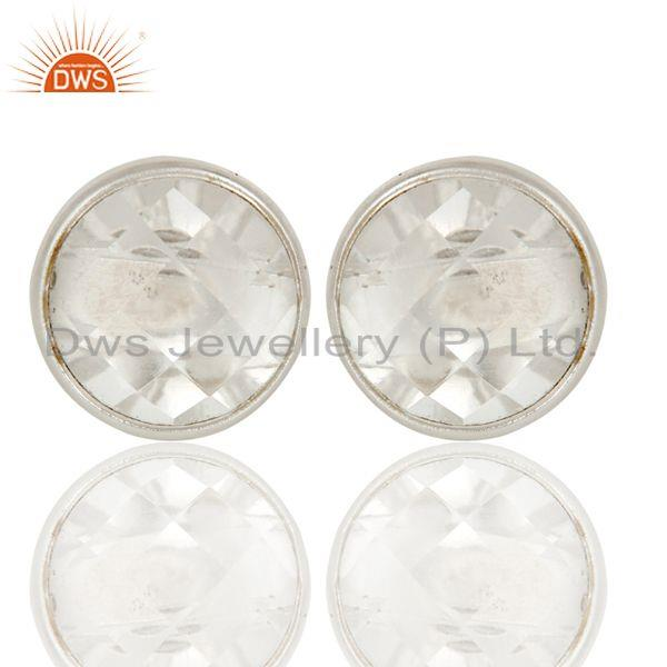 Handmade Solid 925 Sterling Silver Round Cut Crystal Quartz Stud Earring