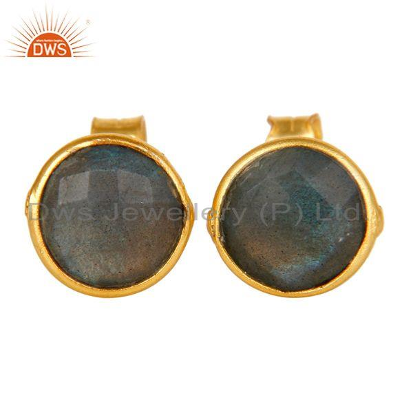 18K Yellow Gold Plated Sterling Silver Labradorite Gemstone Stud Earrings