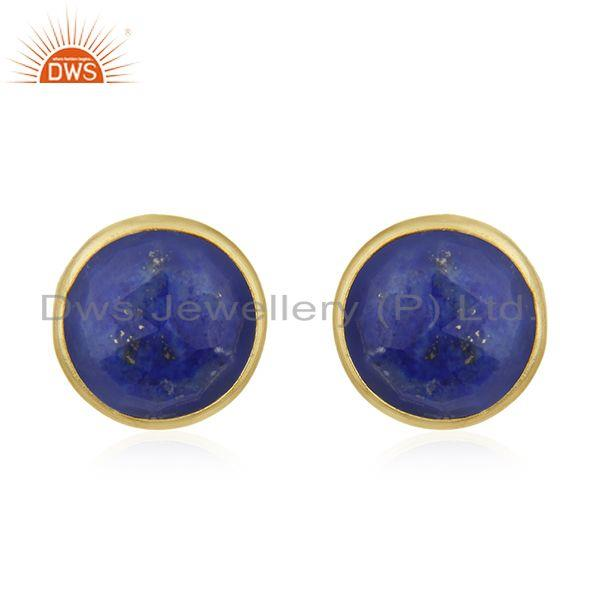 18K Yellow Gold Plated Sterling Silver Lapis Lazuli Gemstone Round Stud Earrings