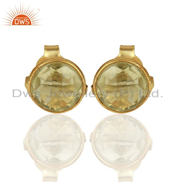 Gold Plated 925 Silver Lemon Topaz Gemstone Stud Earrings Supplier