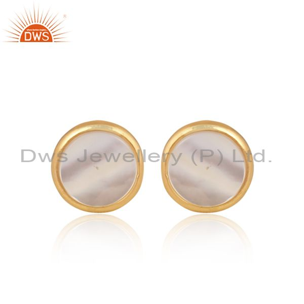 Mother Of Pearl Coin Set Gold On 925 Silver Classic Earrings