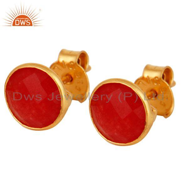 18K Gold Plated Sterling Silver Red Aventurine Bezel Set Ladies Stud Earrings