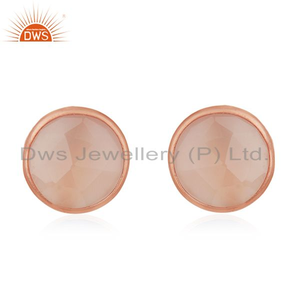 18K Rose Gold Plated Sterling Silver Faceted Rose Chalcedony Stud Earrings