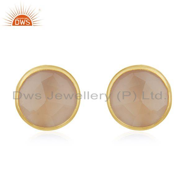 18k Gold Plated 925 Sterling Silver Round Cut Chalcedony Stud Earring
