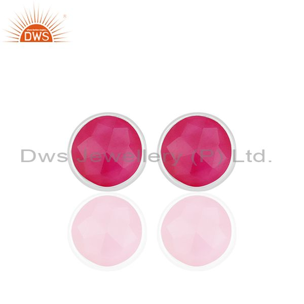 Pink Chalcedony Gemstone Round Sterling Silver Stud Earrings Wholesale