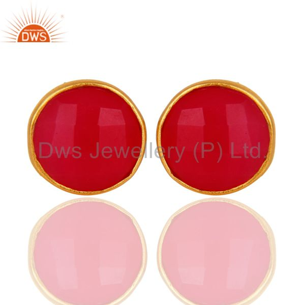 Dyed Pink Chalcedony Gemstone Stud Earrings In 18K Gold Over Sterling Silver