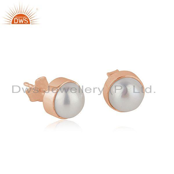 Natural Pearl Rose Gold Plated 925 Silver Teenage Girls Stud Earrings Supplier