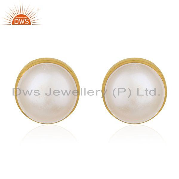 Natural Pearl Gold Plated 925 Silver Round Stud Earring for Girls Jewelry