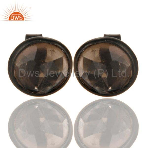 Black Oxidized Sterling Silver Round Cut Stud Earrings with Smokey Topaz