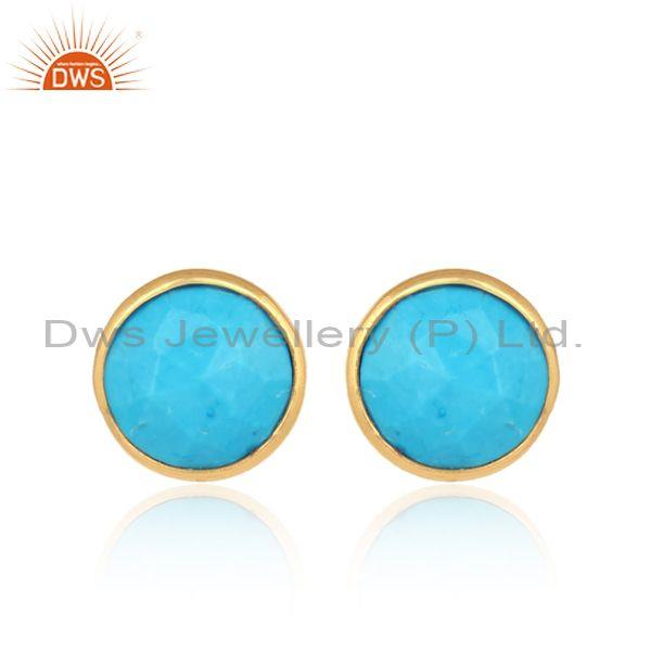 Turquoise Gold On 925 Silver Classic Statement Stud Earrings
