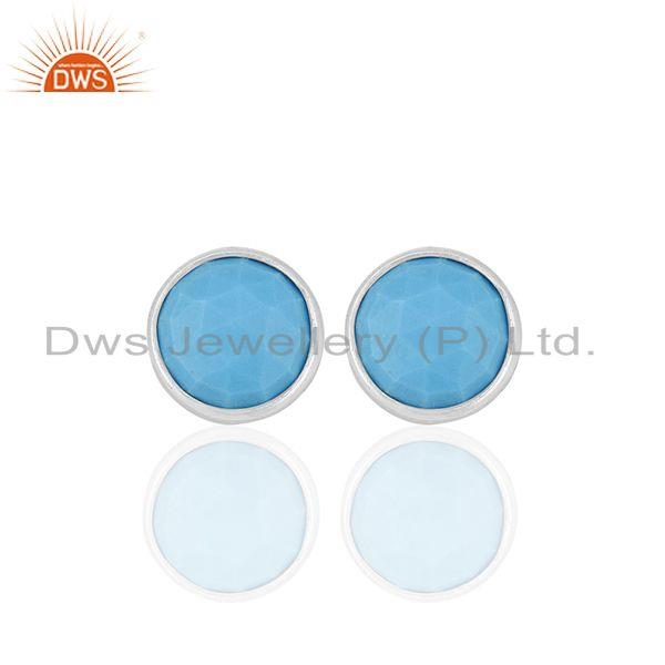 Round Turquoise Gemstone 92.5 Silver Stud Earring Jewelry Manufacturer
