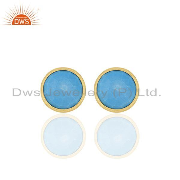 Turquoise Round Gemstone 92.5 Silver Stud Earrings Manufacturer