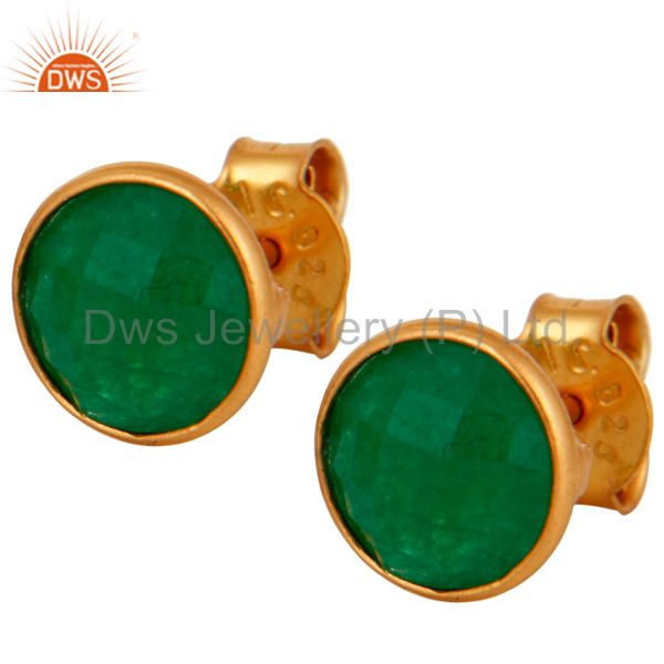 18K Yellow Gold Plated Sterling Silver Green Aventurine Bezel Set Stud Earrings