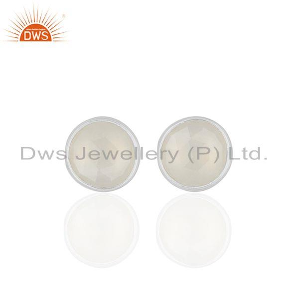 White Chalcedony Gemstone Round Silver Stud Earrings Jewelry Wholesale