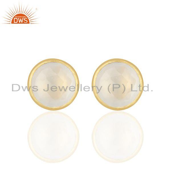 18K Yellow Gold Plated Sterling Silver White Chalcedony Gemstone Stud Earrings